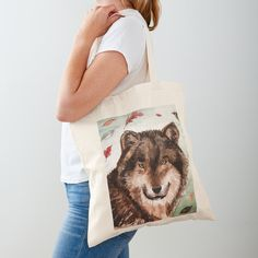 'Cony's wolf' Tote Bag by Dominique Gwerder Printed Tote Bags, Cotton Tote Bags, Reusable Tote Bags, Large Bags, Small Bags, Medium Bags, Shopping Bag, Digital Prints, My Design