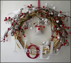 For Christmas 2012: pretty red and white wreath #DIY #letters #cute