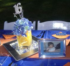 "Great idea for decor:  ""I placed pictures of my son on the table from every one of his birthdays in silver frames that I picked up at Dollar Tree."""