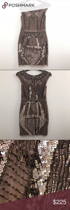 Beaded midi dress Beaded/ sequence midi dress. Elegant and perfect for any special occasion! Very good quality & high-end 💕 I LOVE this dress it's never been worn!!! Impeccable condition(brand new never been worn)  it's just too big and if I were to take it in the bead work would be ruined. Aidan Mattox Dresses