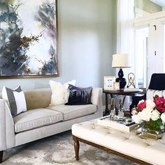 Love this room I got to install yesterday for one of my darling @alicelanehome clients!! New paint, furnishings, and accessories made it feel like a whole new space!  So Dreamy!! ✨💖#designedby@strattonstacie  #styledbyme  #alicelanedesign #ilovemyjob - - -  #livingroomdesign #neutralandnavy #livingroomart #interiordesign #livingroomrug #howtostylelivingrooms #navylamp
