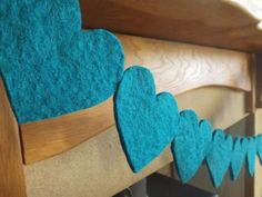 Heart Garland, Teal Garland, felt garland, Teal Nursery, heart bunting, felt heart, Turquoise, Teal Decor, Nursery Garland, Baby shower Gift by FeltWitch on Etsy