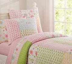 Lily Quilted Bedding #PotteryBarnKids  For Lily's big girl bed in her shared room?  How will it look with black furniture, though?