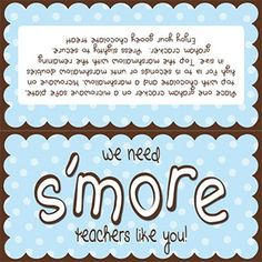 Glue Sticks and Tape: We need s'more people like you! Employee Appreciation Gifts, Volunteer Appreciation, Employee Gifts, Teacher Appreciation Week, Teacher Gifts, Parent Gifts, Staff Gifts, Primary Christmas Gifts, Fun Awards