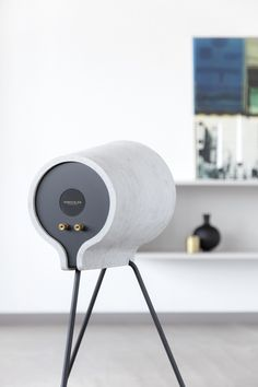 estragon uses composite cement to frame vonschloo home speakers  Minimal, Concrete, Scand