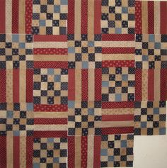 rogue quilter: Fourth of July, Spring, Christmas, Fall - love the 25-patch with the bars... this is just so neat!! And in my colors!!