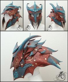Custom designed dragon helmet for my personal character, Sonya Tyburn. Materials: Veg-tanned Leather. For pieces like this and more, please visit my Etsy shop at: www.etsy.com/shop/JAFantasyArt All...