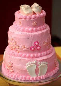 BUTTER CREAM BABYSHOWWER CAKES | with butter cream icing her favorite of all my cakes