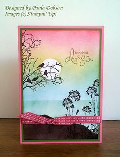 Serene Silhouettes, Paula Dobson - Stampinantics: Stampin Up - fabulous sponging Stampin Up, Card Making Inspiration, Making Ideas, Serene Silhouettes, Tarjetas Pop Up, Stamping Up Cards, Bird Cards, Watercolor Cards, Sympathy Cards