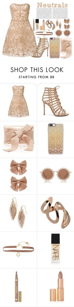 """Neutrals"" by princessadri ❤ liked on Polyvore featuring Monique Lhuillier, Gianvito Rossi, Oscar de la Renta, Casetify, Monsoon, House of Holland, Kendra Scott, Lonna & Lilly, NARS Cosmetics and Charlotte Tilbury"