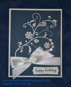 Flowering Flourishes Elegant Birthday card by stampwithtrude - Cards and Paper Crafts at Splitcoaststampers