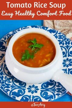 4 Points About Vintage And Standard Elizabethan Cooking Recipes! Tomato Rice Soup Recipe - The Ultimate Comfort Food Hearty Homemade Tomato Soup With Basmati Rice, Herbs And Spices. Veggie lover, Dairy Free, Gluten Free, All Natural Recipe Perfect For The Lunch Recipes, Soup Recipes, Vegetarian Recipes, Dinner Recipes, Vegetarian Rice Soup, Sukkot Recipes, Health Recipes, Chicken Recipes, Tomato Rice Soup