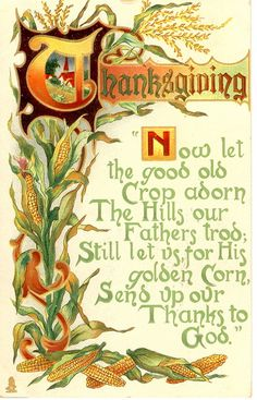 "Thanksgiving corn verse: ""Now let the good old crop adorn the hills our fathers trod; Still let us, for His golden corn, send up our thanks to God."" Postcard, c. Thanksgiving Blessings, Thanksgiving Greetings, Vintage Thanksgiving, Vintage Holiday, Thanksgiving Decorations, Thanksgiving Holiday, Thanksgiving Pictures, Christmas Holiday, Thanksgiving Recipes"