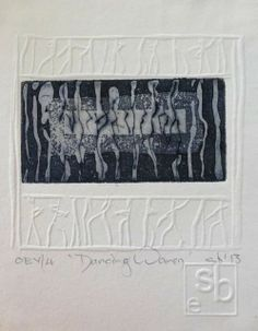 "embossing with printed image. Susan Bowers Intaglio with embossing ""Dancing Women"" Intaglio Printmaking, Collages, Art Abstrait, Art Plastique, Letterpress, Paper Art, Art Drawings, Art Prints, Artwork"