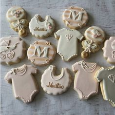 """Natasha on Instagram: """"Blush pink, white and gold baby girl cookies for a…"""