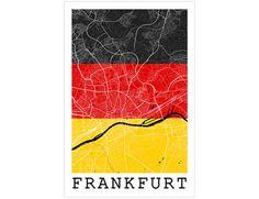 Frankfurt Street Map Frankfurt Germany Flag Modern by JurqStudio