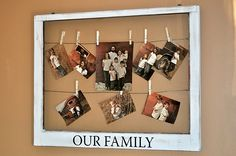 instead of the frame, string the wire bewteen two or more nails on a large empty wall, and hang photographs using the clothes pins...    @Nicole Maestri we could do this!!