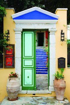 Εntrance to rental studios in Symi Island, Greece