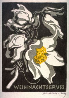 Norbertine von Bresslern-Roth, Christmas Rose – Weihnachtsgruss. early 20th century. Color linocut, Austria