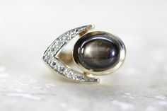 ANTIQUE 14k YELLOW GOLD SOLID MENS BLACK AND DIAMONDS RING