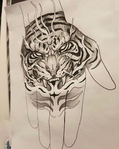 Image may contain: drawing - Zeichnungen - Tattoo Design For Hand, Tiger Tattoo Design, Tattoo Design Drawings, Tattoo Sketches, Tiger Hand Tattoo, Hand Tats, Hand Tattoos For Guys, Dark Tattoo, Grey Tattoo