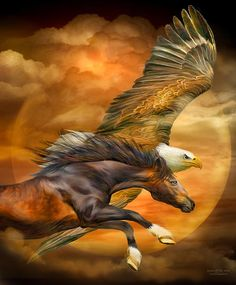 Eagle And Horse - Spirits Of The Wind Mixed Media by Carol Cavalaris