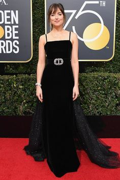 Best Dressed at the Golden Globes 2018: All the Stars in Black - Dakota Johnson in Gucci