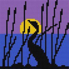 Heron (bird, sunset, sun, water, rushes, grass, evening, night)