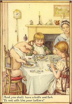 """1929  illustration by Cicely Mary Barker entitled """" And You Shall Have A Knife And Fork To Eat With Like Your Betters''"""