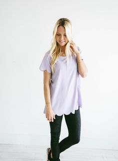GroopDealz | Spring Scalloped Top - 7 Colors!