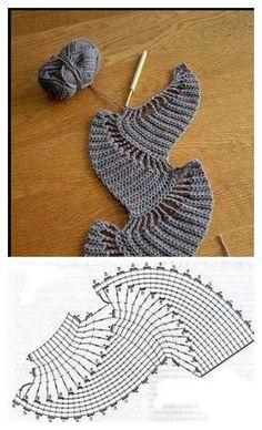 New crochet cowl diagram beautiful Ideas Triangle En Crochet, Col Crochet, Crochet Shawl Diagram, Crochet Motifs, Crochet Chart, Freeform Crochet, Irish Crochet, Crochet Stitches, Free Crochet