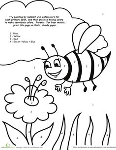 Worksheets: Watercolor Paint by Number: Bee
