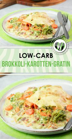 Brokkoli-Karotten-Gratin - Leckere Low Carb Rezepte - schwarzgrueneszebra - The broccoli and carrot gratin is a delicious low carb recipe. The dish is also gluten free. Vegetarian Recipes Dinner, Healthy Chicken Recipes, Healthy Dinner Recipes, Low Carb Recipes, Diet Recipes, Supper Recipes, Snacks Recipes, Pizza Recipes, Brunch Recipes