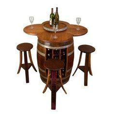 Wine Barrel Table Set - Wine Rack Base with 4 Stools