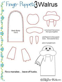 free pattern finger puppet walrus to use with the Atlantic Walrus text