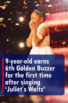 With all the golden buzzers given for each deserved competitor of America's Got Talent this year, no one would actually think that a 6th one could happen. Not until Victory Brinker went up on stage and delivered an excellent performance of 'Juliet's Waltz.' Her voice was so phenomenal that all four judges were stunned and decided to give another extra golden buzzer for this season. #goldenbuzzer #agt #gottalent #music #song America's Got Talent Videos, Talent Show, Buzzers, Tyra Banks, 9 Year Olds, Judges, The One, Victorious, First Time