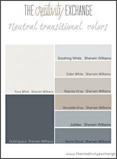 The best place to start when choosing paint colors for a home. I like the Eider White and Repose Gray.
