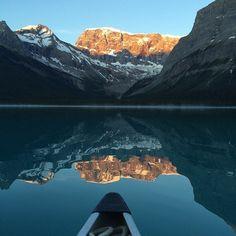 Early morning adventures on Maligne Lake. Photo by estellebstewart