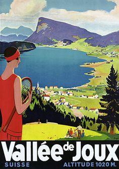 """""""Vallee de Joux Switzerland"""" 1930s Vintage Travel Poster"""