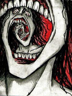 Freaky Face Spiral by Slaughterose on DeviantArt Dark Art Drawings, Art Drawings Sketches, Creepy Art, Weird Art, Arte Obscura, Funky Art, Gcse Art, Surreal Art, Psychedelic Art