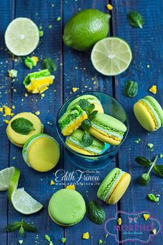 Mojito Macarons via https://www.facebook.com/pages/MORPHO-Fabulous-Desserts-Macarons/631653826886239
