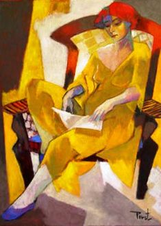 woman reading by Pierre Pivet ( French, b. 1948)