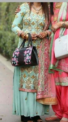 Salwar Suits Party Wear, Punjabi Salwar Suits, Designer Punjabi Suits, Punjabi Dress, Indian Designer Wear, Sharara Suit, Punjabi Bride, Ladies Suits Indian, Suits For Women