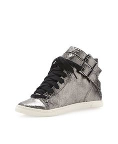 Schutz Aila Double-Buckle Leather Sneaker, Silver - was $240.0, now $46.29 (81% Off) @ Last Call by Neiman Marcus
