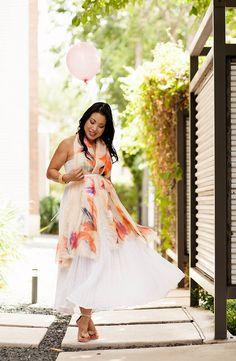 cute & little blog   petite fashion   lulla by bindya ny peach scarf, white maxi   maternity pregnant bump summer style   gender reveal