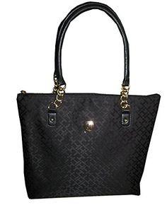 3ce80c6dfc6 Tommy Hilfiger Canvas Medium Tote Shopper Handbag Purse Bag Black * See  this great product.