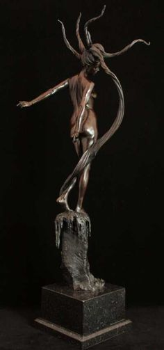 #Bronze #sculpture by #sculptor Carl Payne titled: 'Andromeda (Dramatic Small nude Woman/Girl Bronze statues statuettes)'. #CarlPayne