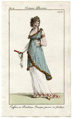 1800-1801 An 9 Costume Parisien Plate No 273 Journal des Dames et des Modes, 1801.