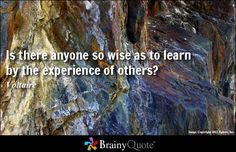 Is there anyone so wise as to learn by the experience of others... - Voltaire at BrainyQuote Mobile