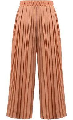 Elastic Waist Pleated Chiffon Orange Pant 19.67